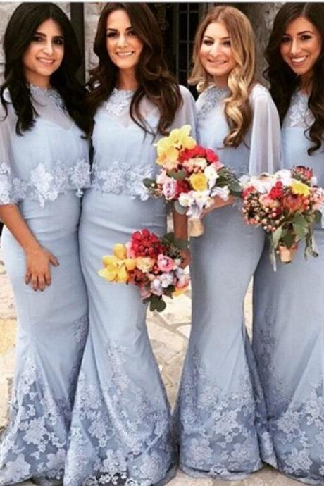 Customisable Light Blue Modest Chiffon Floor Length Mermaid Bridesmaid Dresses with Lace Applique