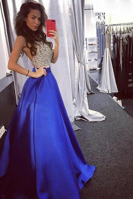 D124 Halter Neck A Line Long Royal blue Top Sequin Elegant Prom Dress,Top Sequin A Line Long Royal Blue Evening Party Dress,Simple Elegant Halter Neck Long Satin Beading Evening Dress