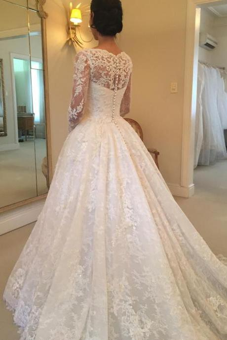Lace Appliqués Scoop Neck Long Mesh Sleeves Floor Length Wedding Gown Featuring Train