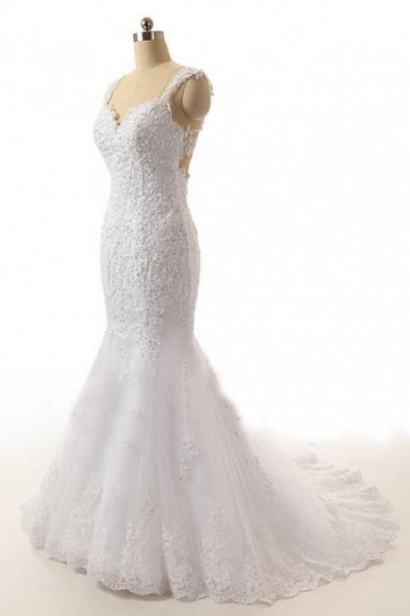 Sleeveless Lace Appliqués Mermaid Wedding Dress