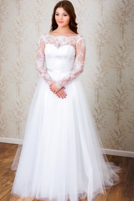 E427 Long Wedding Dress, Tulle Wedding Dress, Long Sleeve Bridal Dress, Sexy V-Back Wedding Dress,Simple Long Tulle Long Sleeve Wedding Dress