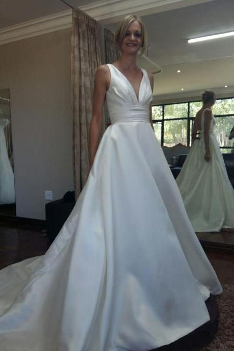 Plunging V Neck Ruched A-line Satin Wedding Dress with Chapel Train