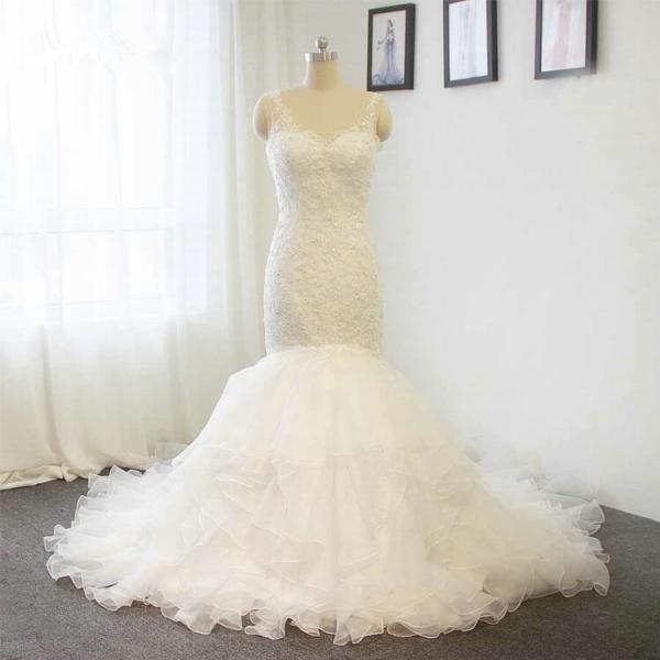 D589 Lace spaghetti strap mermaid wedding dress V-neck Bride dress Custom size,Spaghetti Straps V Neck Top Lace Sexy Tiered Organza Lace Mermaid Wedding Dress
