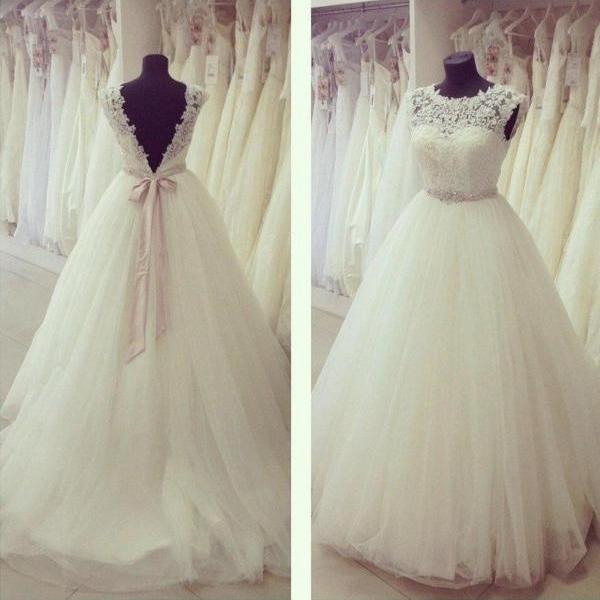 D591 cap sleeves top lace ball gown long tulle wedding dress,floor length top lace ball gown tulle bridal dress