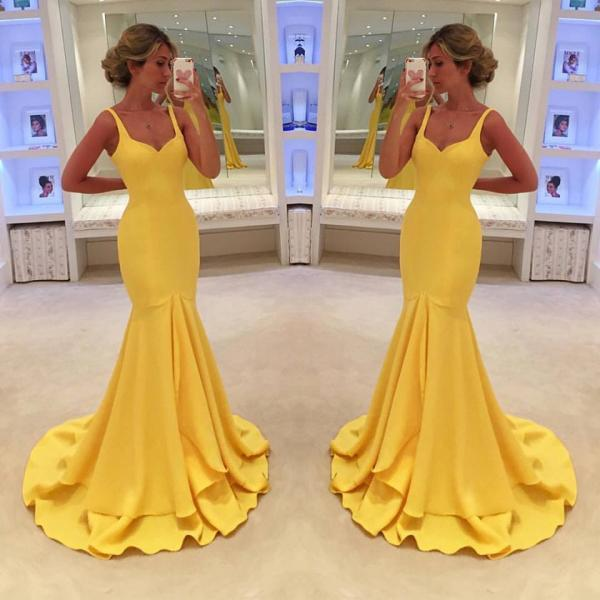E430 Prom Dress,Sexy Prom Dress, Yellow Prom Dresses,Vintage Yellow Mermaid Evening,Prom Dress